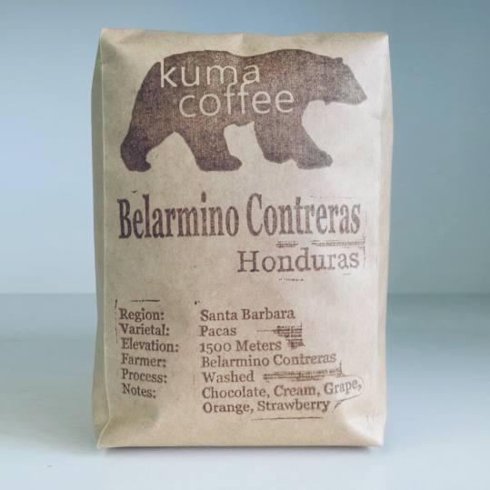 Bag of whole bean Honduras Belarmino Contreras coffee, roasted by Kuma Coffee