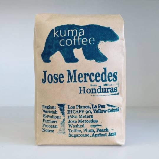 Bag of whole bean Honduras Jose Mercedes coffee, roasted by Kuma Coffee
