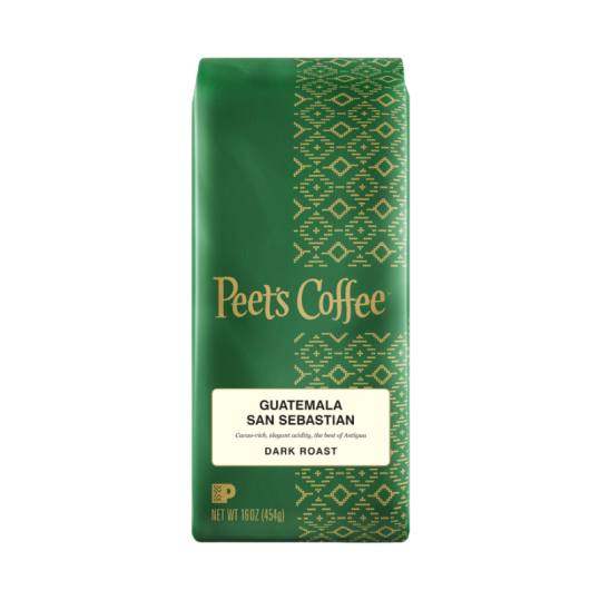 Bag of whole bean Guatemala San Sebastian coffee, roasted by Peet's Coffee