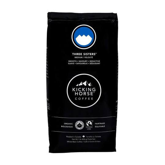 Bag of whole bean Three Sisters® coffee, roasted by Kicking Horse Coffee