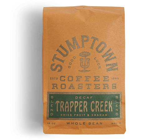 Bag of whole bean Trapper Creek Decaf coffee, roasted by Stumptown Coffee Roasters