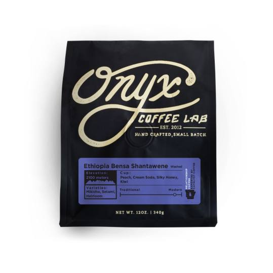 Bag of whole bean Ethiopia Bensa Shantawene coffee, roasted by Onyx Coffee Lab