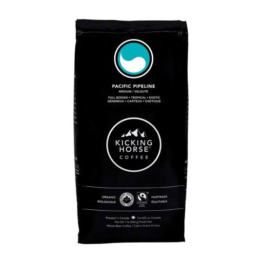 Bag of whole bean Pacific Pipeline coffee, roasted by Kicking Horse Coffee