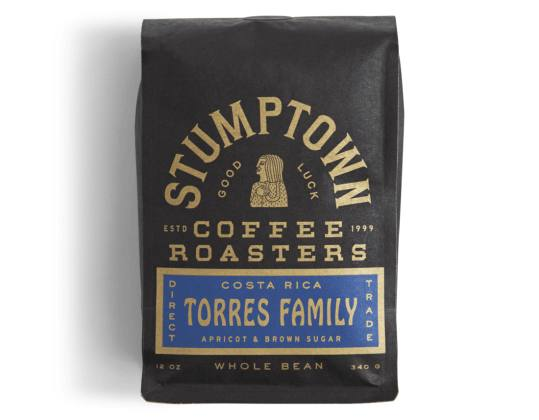 Bag of whole bean Costa Rica Torres Family coffee, roasted by Stumptown Coffee Roasters