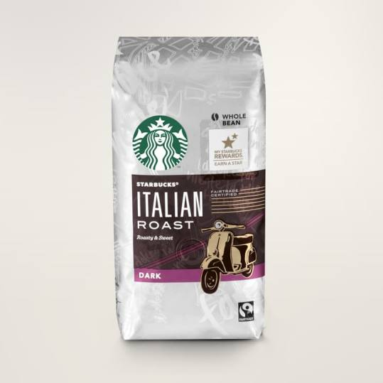 Bag of whole bean Italian Roast coffee, roasted by Starbucks