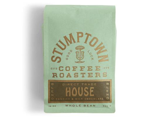 Bag of whole bean House Blend coffee, roasted by Stumptown Coffee Roasters