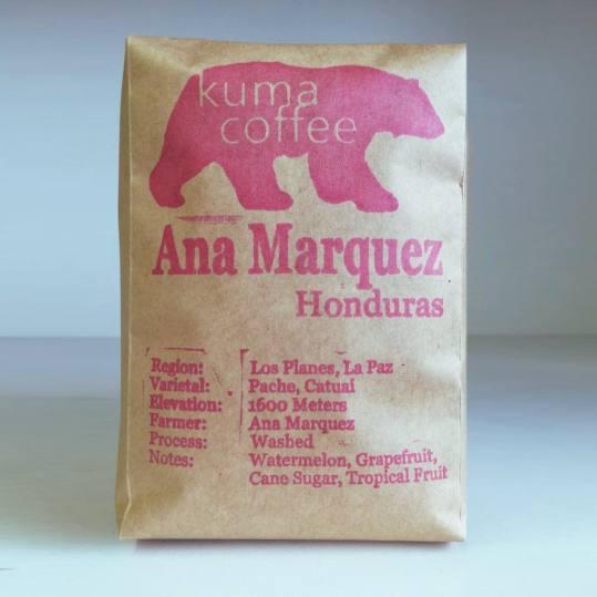 Bag of whole bean Honduras Ana Marquez coffee, roasted by Kuma Coffee