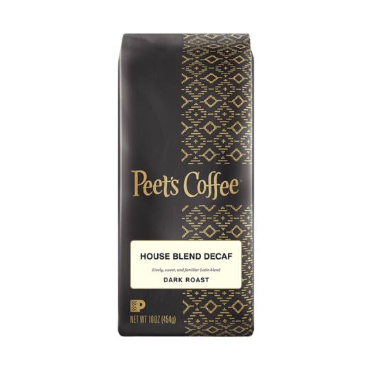 Bag of whole bean Decaf House Blend coffee, roasted by Peet's Coffee