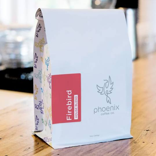 Bag of whole bean Firebird: House Blend coffee, roasted by Phoenix Coffee Co.