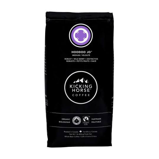 Bag of whole bean Hoodoo Jo® coffee, roasted by Kicking Horse Coffee