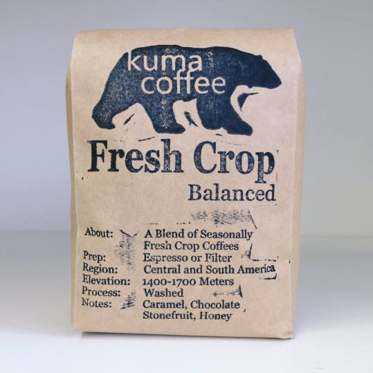 Bag of whole bean Fresh Crop Blend - Balanced coffee, roasted by Kuma Coffee