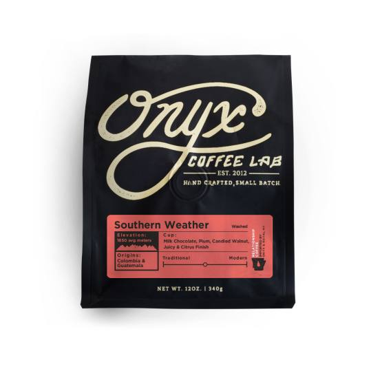 Bag of whole bean Southern Weather Blend coffee, roasted by Onyx Coffee Lab