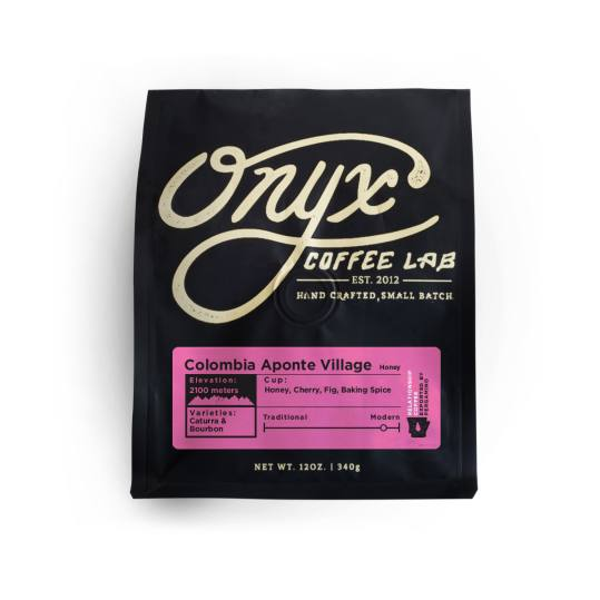 Bag of whole bean Colombia Aponte Village coffee, roasted by Onyx Coffee Lab