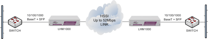 LHM1000 units performing Ethernet service demarcation and media conversion