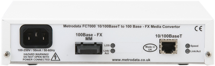FC7000: 10/100BaseT to 100BaseFX Ethernet Media Converter