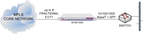 WCM1800 delivering Ethernet services from an MPLS core network