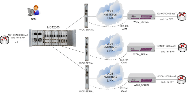 MC12000 supporting Multiple Carrier Ethernet Demarcation / LAN Extension Devices