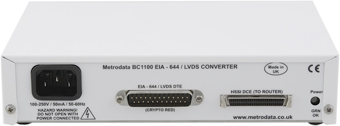 Interfacing LVDS encrypters to HSSI routers and satellite modems