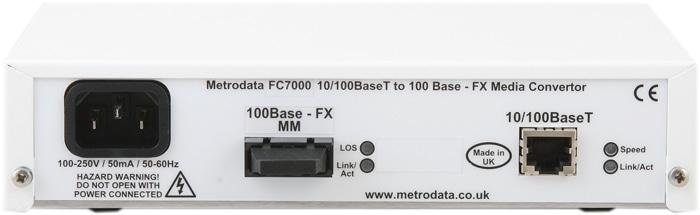 FC7000: 10/100BaseT to 100BaseFX Ethernet Media Converter