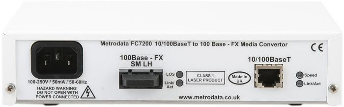 FC7200: 10/100BaseT Ethernet to 100BaseFX Fibre Converter