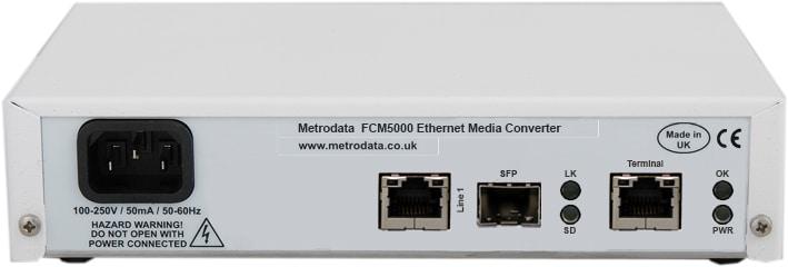 FCM5000 Managed Gigiabit Ethernet Media Converter - Rear