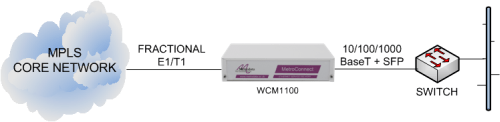 WCM1100 delivering Ethernet services from an MPLS core network
