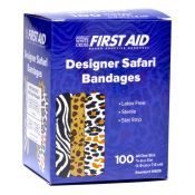 Bandages Safari Print Bandaids 3/4x3 100 per box