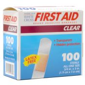 White Cross Clear Plastic Bandage Strips 3/4'' X 3'' 100/box
