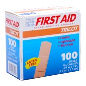 White Cross Tricot Bandage Strips 3/4 X 3 100/box