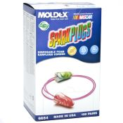 Moldex #6654 Sparkplugs Disposable Ear Plugs With Cord 100 Pair/box