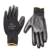 Work Glove Pu Coated Black Dozen