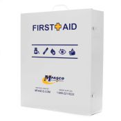 First Aid Box Empty 4 Shelf Wide Labeled/Logo