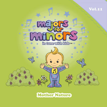 Green album cover with Majors mascot holding up his hands, standing next to some bushes and flowers, with butterflies flying around