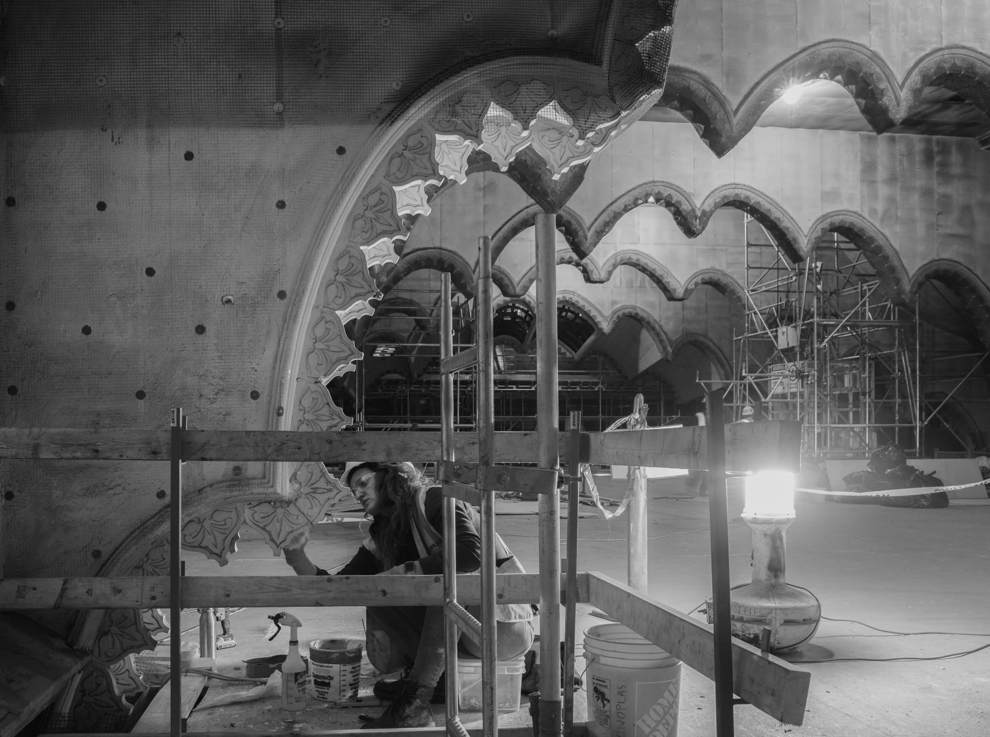 Skilled artisans carefully restored 127-year-old plaster by hand.
