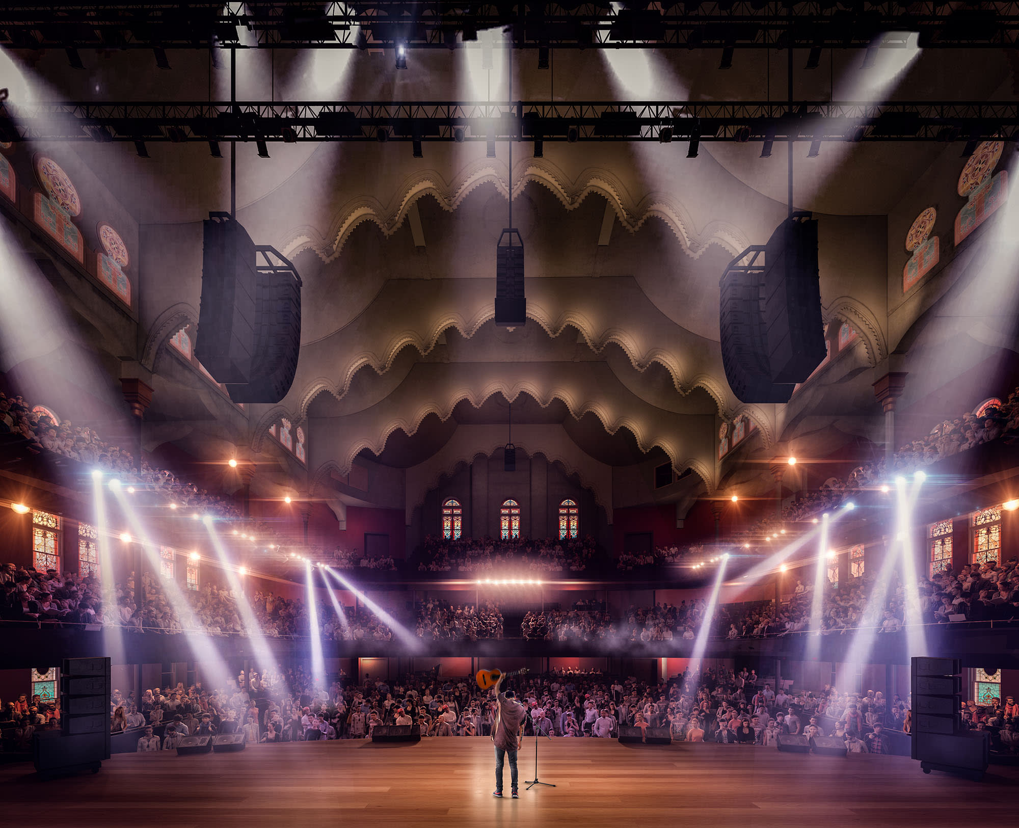 Rendering of stage view in the Allan Slaight Auditorium at Massey Hall