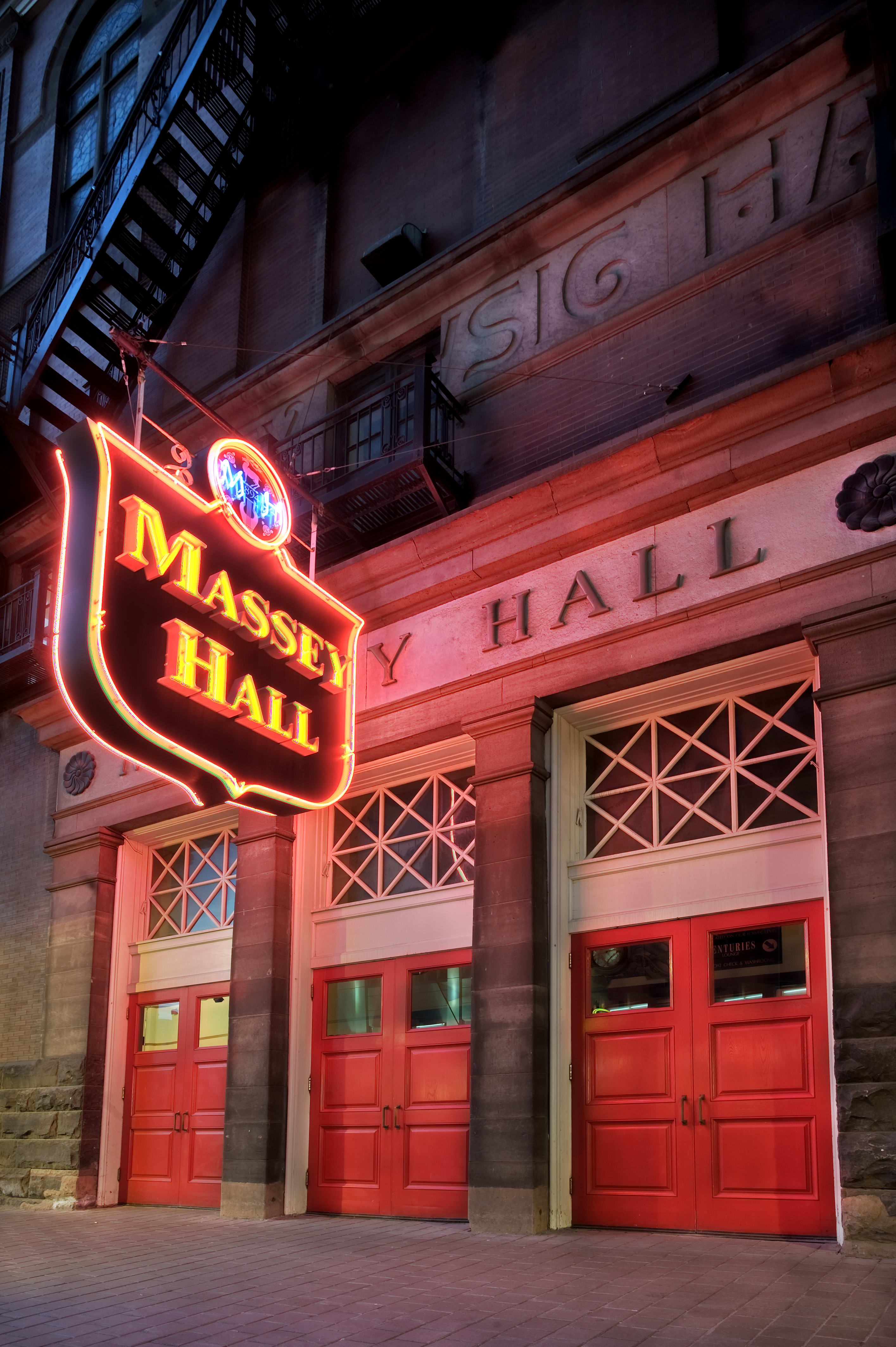 Massey Hall Sign with Red Doors