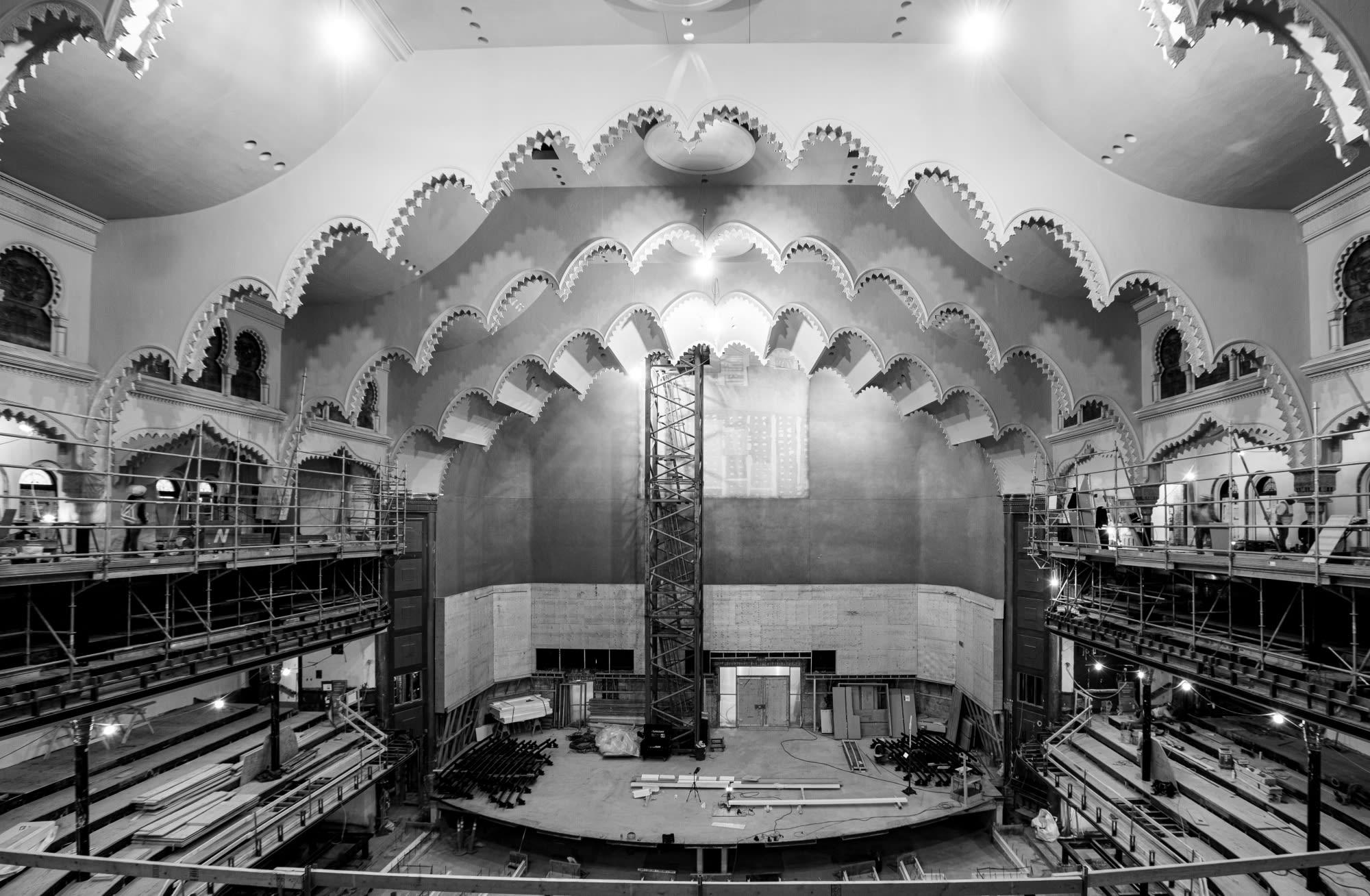 AFTER: Wide shot of ceiling arches, post-restoration, Nov 2020.