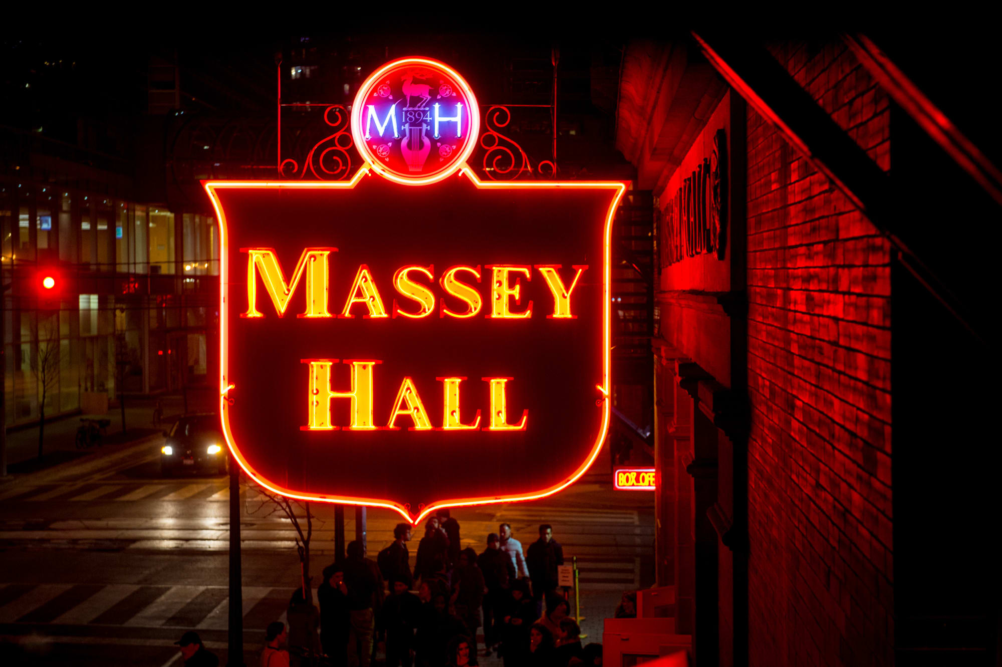 The iconic Massey Hall neon sign