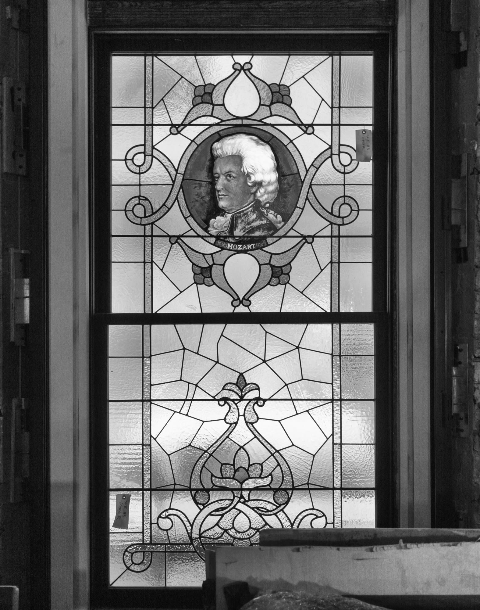 One of the twelve original stained-glass composer windows, fully restored and installed on the lower level of the Allan Slaight Auditorium.