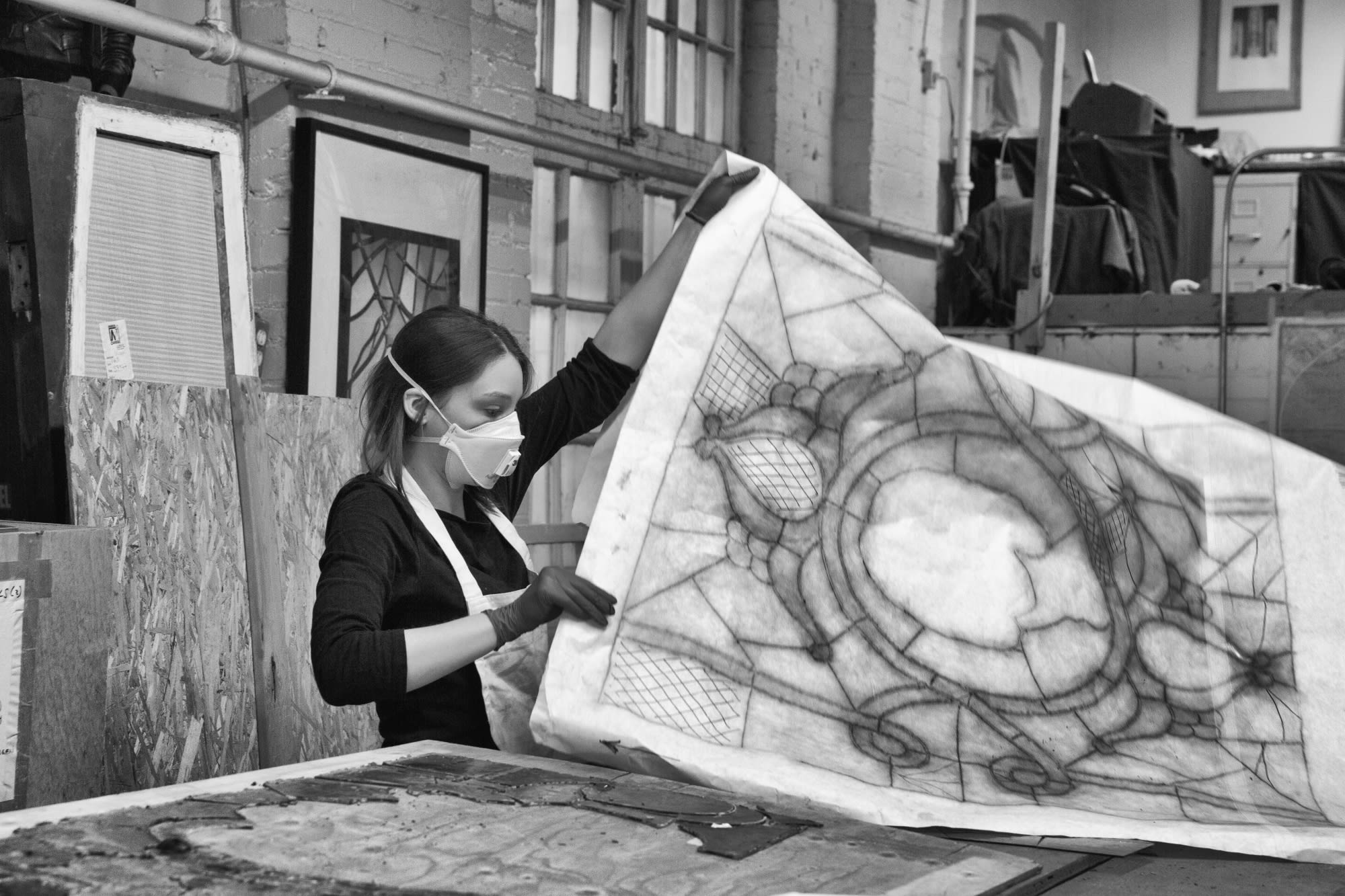 To keep track of all of the stained-glass pieces, lead tracings were made for each and every window.