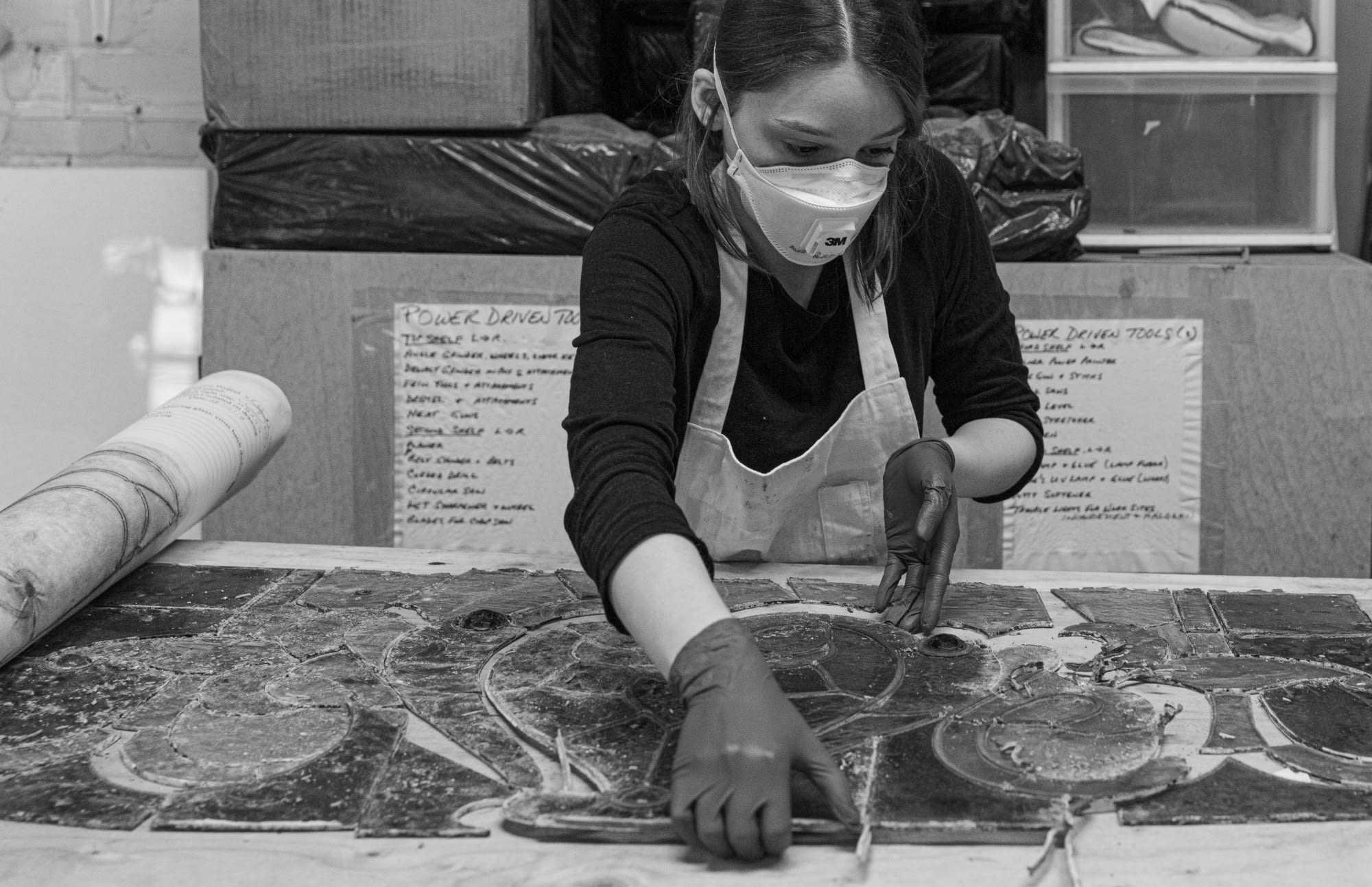 Stained-glass restoration teams carefully dismantled, cleaned & cared for every piece of stained glass.