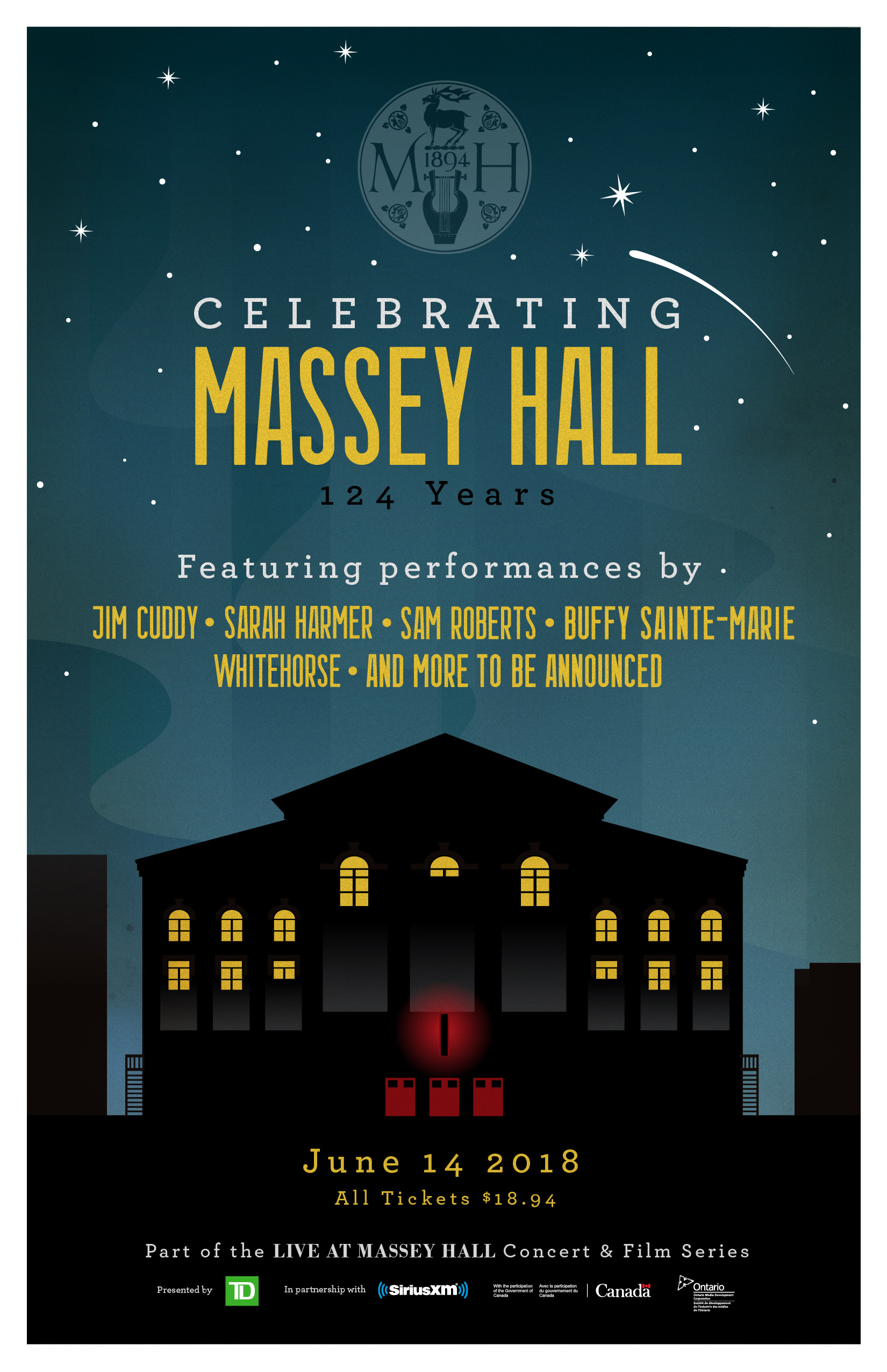 All tickets for this landmark event are priced at $18 94 to honour the year that Massey Hall was ted to the citizens of Toronto