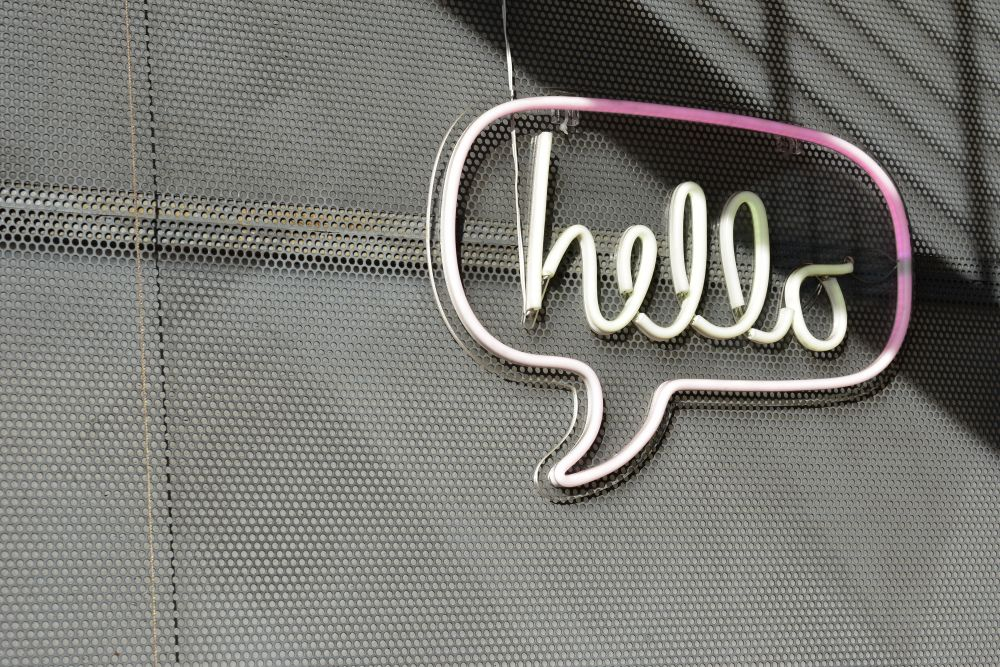 Neon Sign with the text Hello