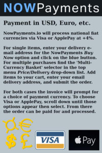 Graphic for Fiat Payments. Visa/ApplePay can be done through NowPayments.io invoice. Scroll down to bottom of cryptocurrency list.