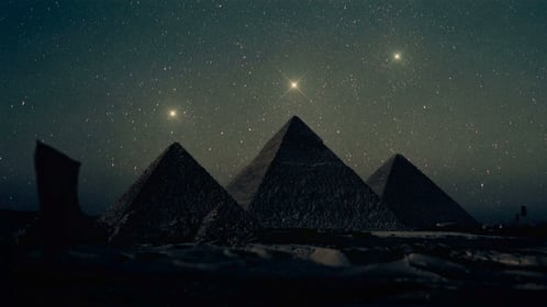 The Orion Correlation Giza Pyramids aligned as stars in Orion's Belt.