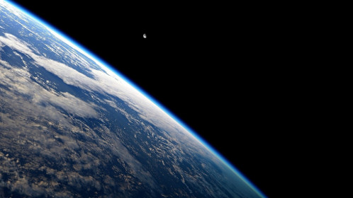Image of one quarter of Earth from Space -- blackness elsewhere.