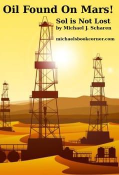 Image of oil rigs on Mars at sunset. Oil fount on Mars!