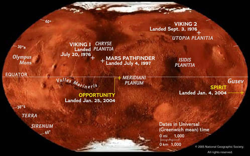 Image of Mars map showing historic landing sites.
