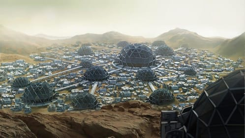 Large settlement on Mars. Large dome at center with radial arms and smaller domes in star pattern.