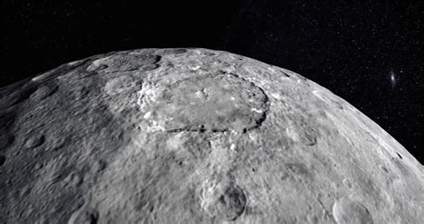 Image of a portion of planetesimal Ceres from space.